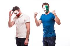 Noord-Ierland versus Polen De voetbalventilators van nationale teams tonen emoties aan: De winst van Noord-Ierland, Polen verlies Royalty-vrije Stock Afbeelding