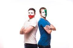 Noord-Ierland versus Polen vóór spel op witte achtergrond Royalty-vrije Stock Foto's