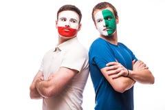 Noord-Ierland versus Polen vóór spel op witte achtergrond Stock Foto