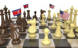 Noord-Korea en buitenlandse de beleidsstrategie en de machtsstrijd van Verenigde Staten, het 3D teruggeven Stock Afbeelding