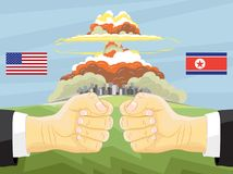 Noord-Korea versus Amerika, Kernexplosie Stock Afbeelding