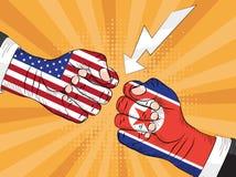 Noord-Korea versus Amerika, Kernexplosie, pop-art Royalty-vrije Stock Afbeeldingen