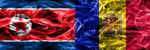 Noord-Korea versus zij aan zij geplaatste de rookvlaggen van Andorra stock illustratie