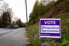 NOORD-VANCOUVER, BC, CANADA - 08 NOV., 2018: Signage op Dollarton-Weg die burger eraan herinneren om in BC kies te stemmen royalty-vrije stock afbeeldingen