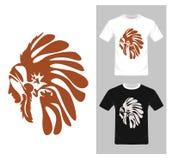Noordamerikaanse Indische leider - T-shirt grafisch ontwerp Stock Foto