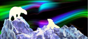 Noordelijk landschap met silhouetten van ijsberen en dageraad stock illustratie