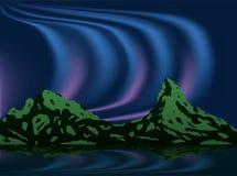 Noordelijk licht en dageraad met bergillustratie royalty-vrije illustratie
