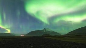 Noordelijk Lichtenaurora borealis in IJsland stock footage