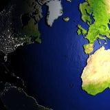 Noordelijke Hemisfeer op model van Aarde met in reliëf gemaakt land Stock Fotografie