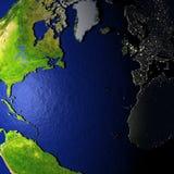 Noordelijke Hemisfeer op model van Aarde met in reliëf gemaakt land Royalty-vrije Stock Afbeeldingen