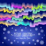 Noordelijke lichten Abstracte vector vrolijke Kerstmis als achtergrond Royalty-vrije Stock Foto