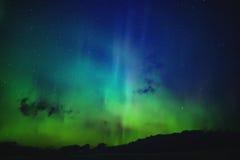 Noordelijke lichten Aurora Borealis-aardlandschap stock afbeeldingen
