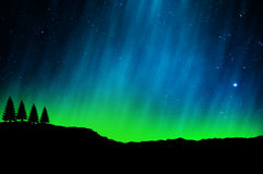 Noordelijke lichten, Dageraad stock foto's