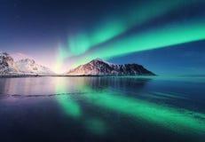 Noordelijke lichten in Lofoten-eilanden, Noorwegen Groen aurora borealis royalty-vrije stock foto's