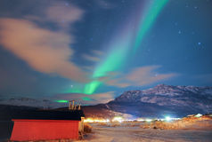 Noordelijke Lichten in Noorwegen stock foto