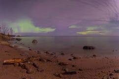 Noordelijke lichten op meer Ladoga Royalty-vrije Stock Foto's