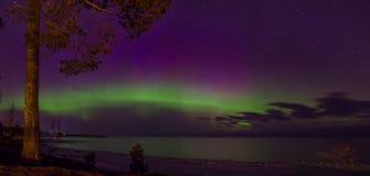 Noordelijke Lichten op Meer Ladoga, Leningrad, Rusland stock foto's