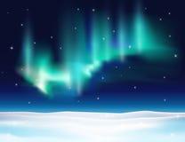 Noordelijke lichten vectorillustratie als achtergrond Royalty-vrije Stock Afbeeldingen