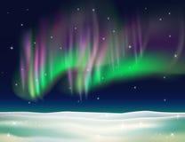 Noordelijke lichten vectorillustratie als achtergrond Stock Afbeelding