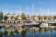 Noorderhaven canal in old town of Harlingen, Netherlands. Noorderhaven canal with boats and houses in historic old town of Harlingen, Friesland, Netherlands Royalty Free Stock Photo