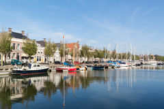 Noorderhaven canal in old town of Harlingen, Netherlands Royalty Free Stock Image