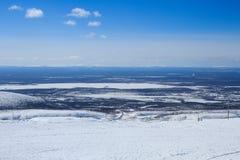 Noordpool de winterlandschap van de berg boven de Noordpoolcirkel stock afbeeldingen