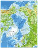 Noordpool Oceaan Fysieke Kaart royalty-vrije illustratie