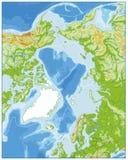 Noordpool Oceaan Fysieke Kaart GEEN tekst Stock Foto