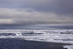 Noordpooldieeiland met gletsjer wordt behandeld Stock Afbeeldingen