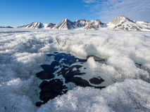Noordpoolgletsjerlandschap - Svalbard Stock Afbeelding