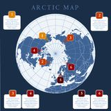 Noordpoolkaart met de grens, het net en het etiket van landen Noordpoolgebieden van noordelijke hemisfeer Circumpolaire projectie royalty-vrije illustratie