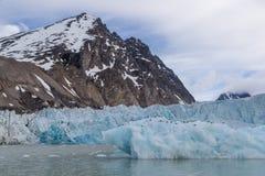 Noordpoollandschapsgletsjer die in de baai op Spitsbergen-archipel uitglijden stock afbeelding