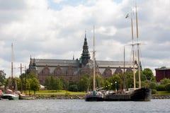 Noords museum in Stockholm dat van het water wordt bekeken Royalty-vrije Stock Fotografie