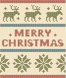 Noordse Achtergrond met de Vrolijke Teksten van Kerstmis Royalty-vrije Stock Foto's