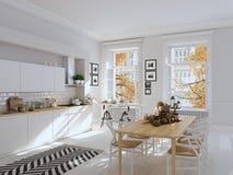Noordse keuken in een flat het 3d teruggeven De bladeren & de pompoenen en een ceramisch hoofd van Turkije vormen een conceptueel Royalty-vrije Stock Foto's