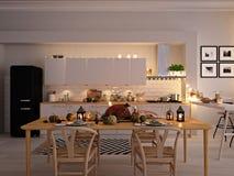 Noordse keuken in een flat het 3d teruggeven De bladeren & de pompoenen en een ceramisch hoofd van Turkije vormen een conceptueel Royalty-vrije Stock Fotografie