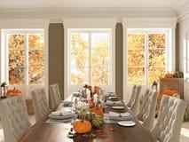 Noordse keuken in een flat het 3d teruggeven De bladeren & de pompoenen en een ceramisch hoofd van Turkije vormen een conceptueel Stock Afbeelding