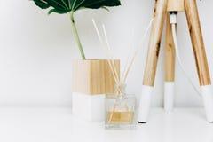Noordse moderne woonkamer met schemerlamp, huisgeur en tropisch blad royalty-vrije stock afbeeldingen