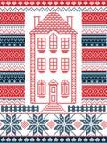 Noordse stijl en geïnspireerd door de Skandinavische illustratie van het Kerstmispatroon in dwarssteek met peperkoekhuis stock illustratie