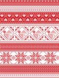 Noordse stijl en geïnspireerd door de Skandinavische illustratie van het Kerstmispatroon in dwarssteek, in rood en wit met inbegr stock illustratie