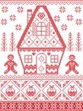 Noordse stijl en geïnspireerd door Skandinavisch dwarskerstmispatroon van de steekambacht in rood, wit met inbegrip van hart, pep royalty-vrije illustratie