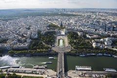 Noordwestencityscape van Parijs van de Toren van Eiffel stock afbeelding