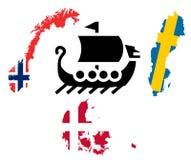 Noordzeelandenconcept vikingen Stock Foto's