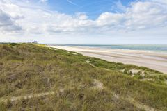 Noordzeestrand in Blankenberge, België stock foto's