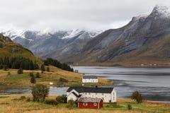 Noors landschap, Lofoten-eilanden, Noorwegen stock afbeeldingen