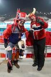 Noorse biathlonventilators tijdens de Massabegin van biathlonmensen ` s 15km bij 2018 de Winterolympics stock foto