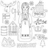 Noorse de symbolen vectorreeks van Noorwegen stock illustratie