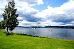 Noorse de zomersdag door het meer stock afbeeldingen