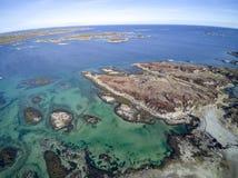 Noorse inzameling van eilanden luchtmening, hommelmening Royalty-vrije Stock Foto