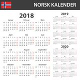 Noorse Kalender voor 2018, 2019 en 2020 Planner, agenda of agendamalplaatje Het begin van de week op Maandag Stock Afbeeldingen